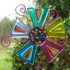 Dichroic Suncatcher Fabulous Rainbow Flower