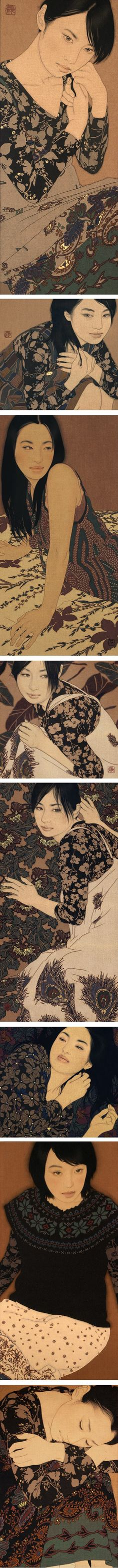 Ikenaga Yasunari, portraits of women in soot ink, mineral pigments, Menso brush Japanese Illustration, Illustration Art, Art Japonais, Japanese Prints, Japan Art, Art Plastique, Portrait Art, Figure Painting, Illustrators