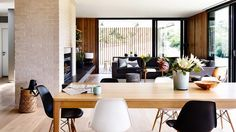 open plan dining living black white timber McKimm home oct15
