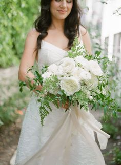 A bride and her bouquet! White and Green Bouquet for this stunning outdoor summer wedding! Los Angeles Florist // Wedding Flowers //