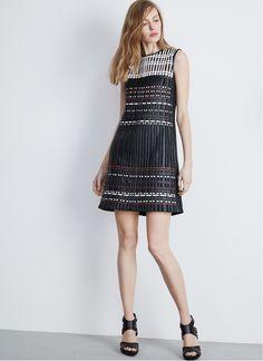 Dress with eco leather details - Adolfo Dominguez