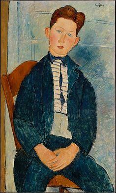Boy in a Striped Sweater Artist: Amedeo Modigliani (Italian, Livorno 1884–1920 Paris) Date: 1918 Medium: Oil on canvas Dimensions: 36 x 21 1/2 in. (91.4 x 54.6 cm)