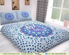 Shop the luxury Indian mandala comforter set in king twin size with leaf prints. This boho chic duvet cover bedding is very classy and also display the intricate designs and pattern. Handmade Duvet Covers, Modern Duvet Covers, Comforter Cover, Comforter Sets, Duvet Cover Sets, Cheap Bedding Sets, Bedding Sets Online, Affordable Bedding, Pottery Barn