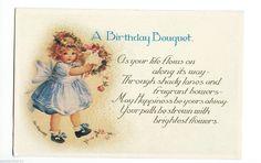 "Postcard Ellen K. Clapsaddle"" A Birthday Bouquet"" 1900 Little Girl in Blue Signd in Collectables, Postcards, Artist Signed | eBay"
