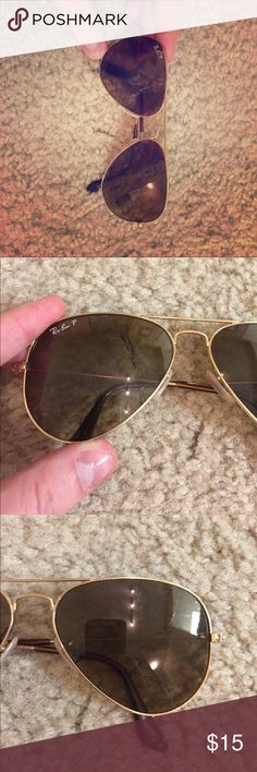 Polarized Ray Ban Aviators These polarized ray ban aviators are perfect for summer! One of the lenses is cracked, so you will have to replace it if it is bothersome (this is about $60 online). Ray-Ban Accessories Sunglasses