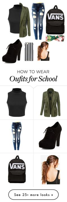 """""""Back to school"""" by olielala on Polyvore featuring LE3NO, New Look, Vans, MICHAEL Michael Kors, Boohoo and Gucci"""