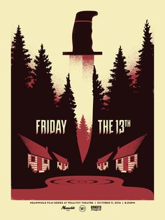 FRIDAY THE 13TH Screen Printed Poster by PyramidSchemeTShirts on Etsy https://www.etsy.com/listing/496341533/friday-the-13th-screen-printed-poster