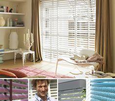 LIVING ROOM white wooden venetian blinds & curtains