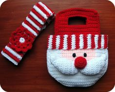 Girl's Santa Crochet Pattern Christmas Purse Bag and Striped Headband with Flower. $4.99, via Etsy.
