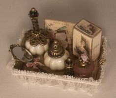 Perfume Tray #1 by Manuela Herbst - $84.00 : Swan House Miniatures, Artisan Miniatures for Dollhouses and Roomboxes