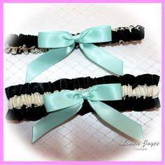Wedding Garters Set 02 Classic Satin Garter Bridal Garter Set Black Ivory Bow 30 Aqua Tiffany Blue Aquamarine