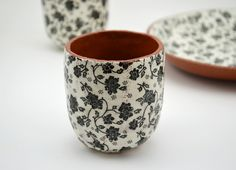 Hand pinched and coiled terracotta teacup by Susan Simonini