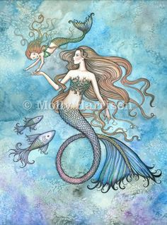 Items similar to Mermaid Print - Sanctity of Motherhood by Molly Harrison Fantasy Art 12 x 16 on Etsy Mermaid Drawings, Mermaid Tattoos, Mermaid Artwork, Mermaid Paintings, Mother Daughter Art, Seahorse Tattoo, Mermaid Poster, Baby Mermaid, Mermaid Nursery
