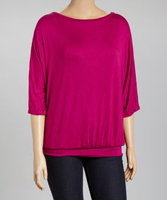 Look at this #zulilyfind! Berry Blouson Dolman Top - Plus #zulilyfinds