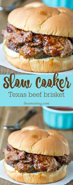 Slow Cooker Texas Beef Brisket is a flavorful crock pot beef brisket recipe that makes tender and tasty beef that's perfect for sandwiches.