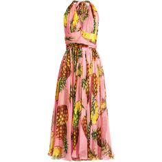 Dolce & Gabbana Pineapple-print silk-chiffon halterneck dress (22210 MAD) ❤ liked on Polyvore featuring dresses, pink multi, metallic dress, pineapple print dress, red halter dress, pink pleated dress and print dresses