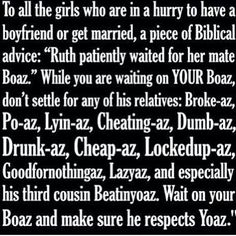 Biblical advice for yoaz from Ruth & Boaz