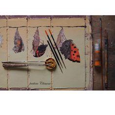 """""""METAMORPHOSES"""" : le papillon, illustration en cours de création (prochainement aux Ed. Le Seuil Jeunesse """"Beaux Livres"""" ... """"METAMORPHOSIS"""" painting in progress by frederic Clement ( soon published in Ed. Le Seuil )"""
