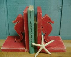 Seahorse Bookends Pair Beach House Decor by CastawaysHall on Etsy, $48.00