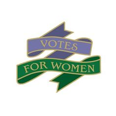 Suffragettes pin badge (Votes for Women) on British Library