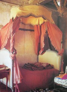 """Beyond beautiful, Louis XVI """"lit a la polonaise"""", Polish bed swathed in dusted silk and fine cotton.   18th century townhouse, Arles.    From the pages of Vogue Living: Houses, Gardens, People    Hamish Bowles"""