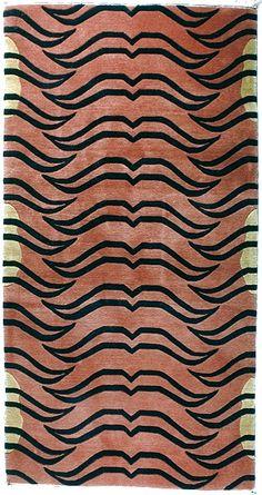 Abstract Tiger Carpet, Black and Cinnamon, 3'x6'