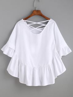 White Crisscross Back Ruffle Top