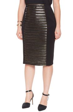 b40b8c47f4346 ELOQUII Faux Leather Stripe Front Pencil Skirt (Plus Size) available at   Nordstrom Plus