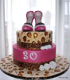 Pink and leopard print shoe cake