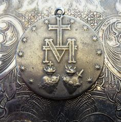 RARE Large Round Silver French Art Deco Catholic Miraculous Medal Of The Immaculate Conception 1830 Blessed Virgin Mary Mother Of Jesus