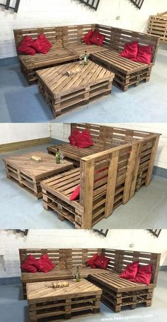 pallet patio furniture DIY pallet furniture inspiring ideas and ways to continue to make your own furniture out from pallets, choose post consumer pallet woodwork to develop future work of genius! Pallet Furniture Designs, Pallet Garden Furniture, Wooden Pallet Projects, Diy Outdoor Furniture, Pallet Crafts, Recycled Furniture, Wooden Pallets, Furniture Projects, Diy Furniture