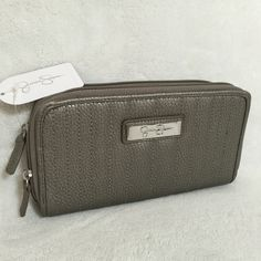 """Selling this """"Jessica Simpson Pewter Double Zip Theresa Wallet"""" in my Poshmark closet! My username is: mtnoonan. #shopmycloset #poshmark #fashion #shopping #style #forsale #Jessica Simpson #Clutches & Wallets"""