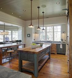 """Here is the """"big Island in the middle, eating bar at the outside"""" idea for the kitchen"""