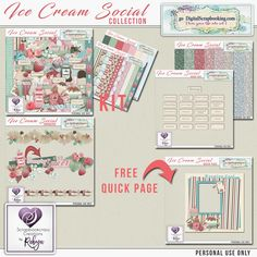 Ice Cream Social Collection BEST VALUE  Ice Cream Social kit Ice Cream Social Glitter Papers Ice Cream Social Borders Ice Cream Social word Tags  FREE Ice Cream Social Quick Page