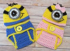 TWINS Crochet Outfits, Photo Prop, Shower Gift, Minion Sets, pink, blue, baby girl, baby boy, photo props, preemie, Newborn to 12 months by kimcrochetcreations on Etsy