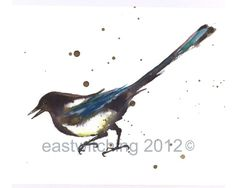 Watercolor Magpie print  8x10 inches  Dashing by eastwitching, $20.00
