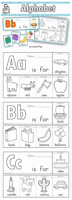 Alphabet Flip Books to introduce beginning sounds (color and black & white). Fantastic paper saving idea - a little booklet made from just one piece of paper! how to build a website step by step Preschool Letters, Free Preschool, Learning Letters, Preschool Worksheets, Free Worksheets, Preschool Education, Preschool Learning, Preschool Activities, Fun Learning