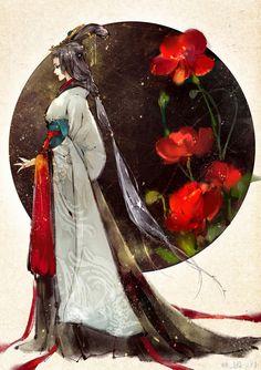 By Artist Unknown. China Art, Image Manga, Chinese Painting, Anime Art Girl, Japanese Art, Character Art, Fantasy Art, Concept Art, Art Drawings