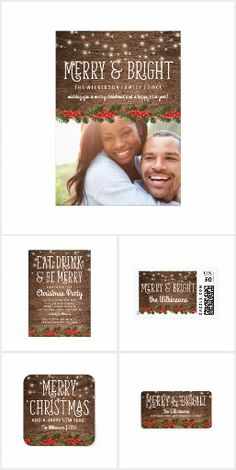 Rustic Merry & Bright Christmas Suite Rustic holiday christmas collection featuring a warm wooden background, twinkle string lights, a xmas holly floral trim, and a personalized seasons greetings text template. Christmas greeting / holiday invitation / custom invites #christmas #holiday #invitations