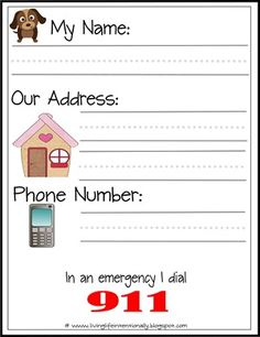 Printable for learning address and phone number. Print and send home for them to practice. These FREE Learn My Name & Address Printables is perfect for helping preschool and kindergarten age kids to learn their name and address. Preschool Learning, Preschool Activities, Kids Learning, Preschool Binder, Teaching Kids, Lilo And Stich, Fire Safety Week, Planning School, Lorie
