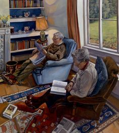 'Reading after Lunch' by Sara Bryant    Sara Bryant [British Contemporary Realist Painter]  Website: www.selectideas.co.uk/sarahbryant/  Oil on canvas   40'' x 36''   Private Collection
