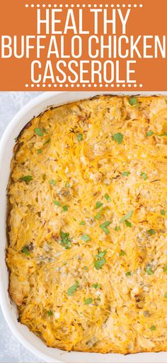 This Healthy Low Carb Buffalo Chicken Spaghetti Squash Casserole bake is the perfect quick weeknight dinner. Clean eating, low carb, full of flavor - it's gluten free, healthy and SO delicious! This can be made dairy free/ friendly, or turned into boats! Buffalo Chicken Spaghetti Squash, Buffalo Chicken Casserole, Spaghetti Squash Casserole, Healthy Buffalo Chicken, Healthy Chicken, Chicken Squash, Healthy Squash Casserole, Casserole Dishes, Casserole Recipes