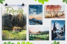 FREE UNTIL OCTOBER 8! :: Watercolor postcards by Alena Pam9tka on @creativemarket