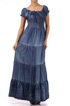 Kiwi Co. Audrina Cap Sleeve Smocked Tiered Denim Maxi Dress Denim Blue, One Size at Amazon Women's Clothing store: