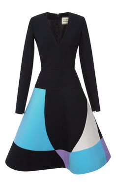 Long Sleeve Cady Dress w/ Intarsia Skirt | Fausto Puglisi | Moda Operandi