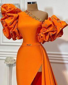 Orange Evening Dresses, Ankara Dress, Stylish Dresses, African Fashion, Dress To Impress, Bridal Dresses, Designer Dresses, One Shoulder, Gowns