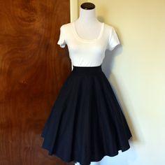 Solid Black Homemade Circle/Swing Skirt by DamselDuds on Etsy