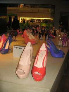 I've been wanting to check out the Selfridges Shoe Galleries for ages. It's a whole floor dedicated to shoes.  I repeat. A Whole Floor. Dedicated. To Shoes. And it did not disappoint. I squeezed myself into about 72 pairs, fell over in a few, and fell in love with loads. Especially the bright orange Carvelas! Fall Over, Shoe Gallery, Pumps, Heels, Galleries, Repeat, Christian Louboutin, Floor, Bright