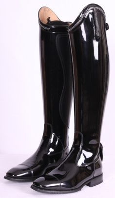 Just ordered my second pair of these fantastic boots. One is a shinny black with the top piece patent leather. The go well with my saddle and bridle. The second pair is dark brown with a flat brown crocodile upper. The fit is great (they're custom) and the look super. Barbara at Horse and Rider is the best.
