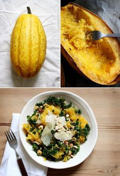 Spaghetti Squash-Kale-Cooked Chickpeas-Minced Garlic-Olive Oil-Salt-Crushed Chilies-Toasted Hazelnuts-Pecorino Romano  400°F oven-Cut Squash lengthwise, seed, rub inside with Olive Oil, S&P. Squash face down lined baking tray–45 minutes Heat oil, add garlic, chilies, salt. Cook to fragrant, add rib removed chopped kale cook to bright green and soft. Add Chickpeas and warm.  Scrape inside Squash with fork, strands should pull away from the shell like spaghetti.  Toss Sprinkle hazelnuts and…